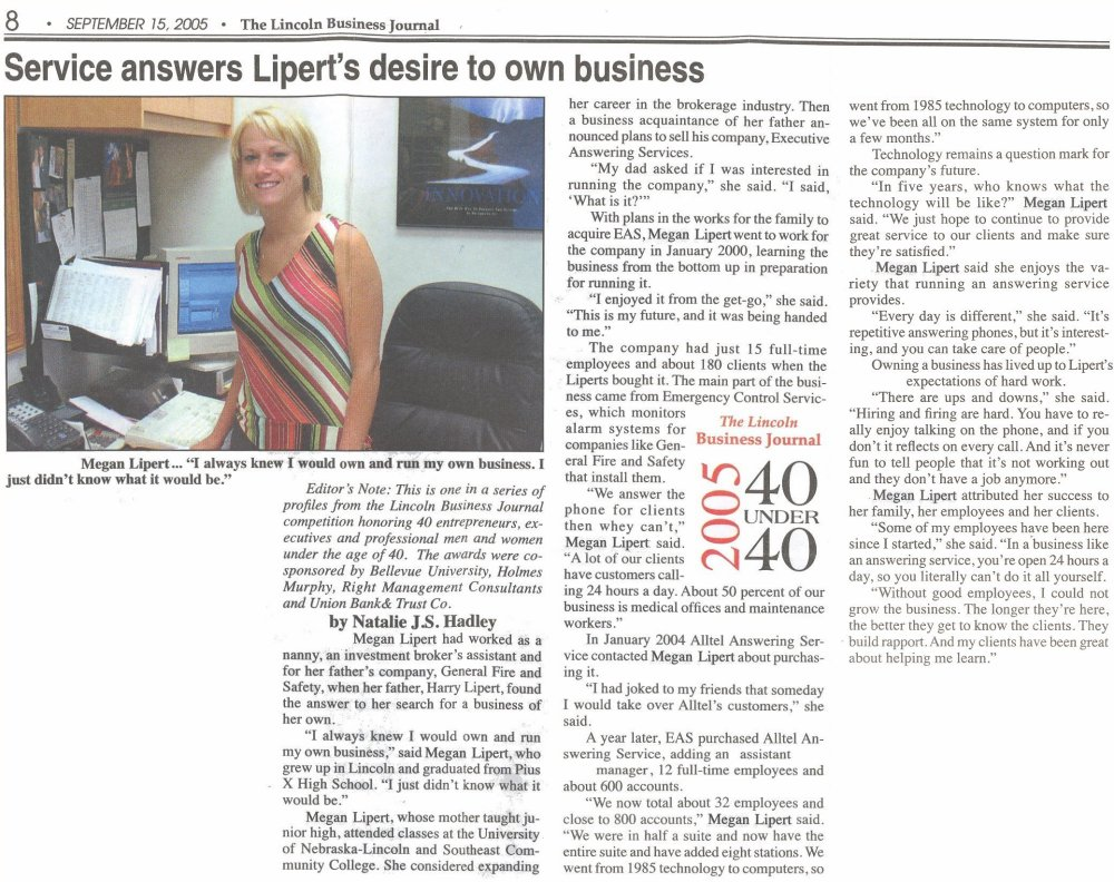 Executive Answering Service Owner and CEO Megan Lipert
